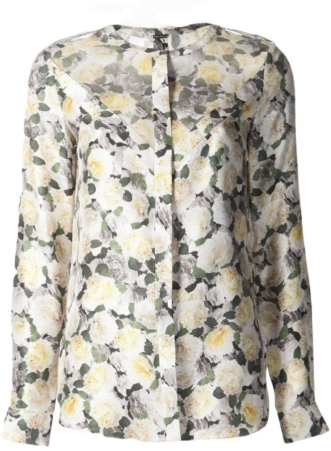 ADAM by Adam Lippes chevron floral print blouse