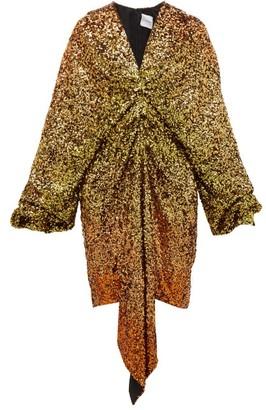 Halpern Gathered Degrade Sequin Dress - Womens - Gold