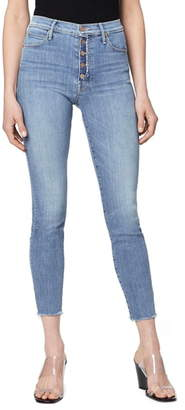 Mother The Fly Cut Stunner High Waist Fray Ankle Skinny Jeans