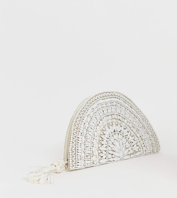 Accessorize white embellished half moon clutch bag