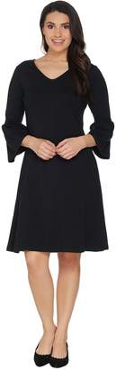 Denim & Co. Regular V-Neck 3/4 Bell Sleeve Fit & Flare Dress