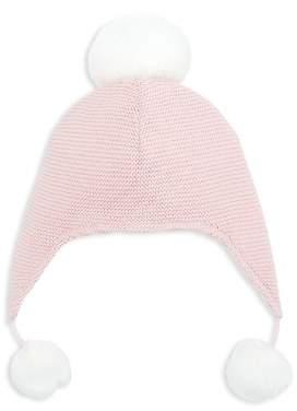 Elegant Baby Girls' Pom-Pom-Trimmed Knit Aviator Hat - Baby
