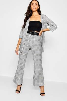 boohoo Checked Cropped Kick Flare Belted Trouser