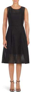 Ellen Tracy Illusion Windowpane Check Fit-&-Flare Dress