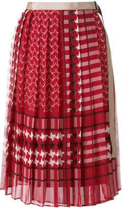 Sacai scarf print pleated skirt