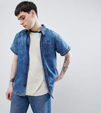 Reclaimed Vintage inspired denim acid wash shirt with short sleeves