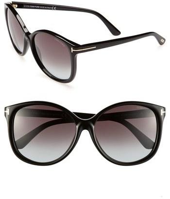 Women's Tom Ford 'Alicia' 59Mm Sunglasses - Shiny Black
