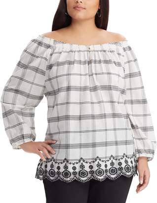 Chaps Plus Size Plaid Off-the-Shoulder Top