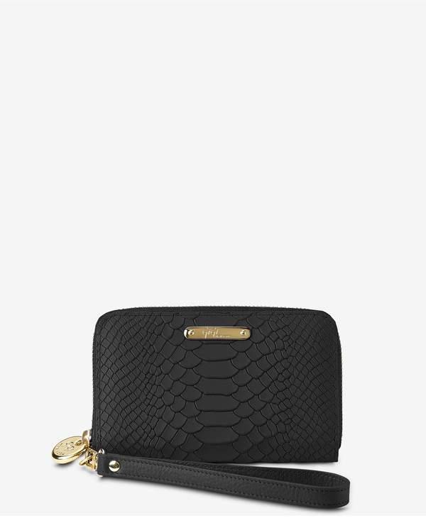 Gigi New York Gigi New York Wristlet Phone Wallet In Black Embossed Python
