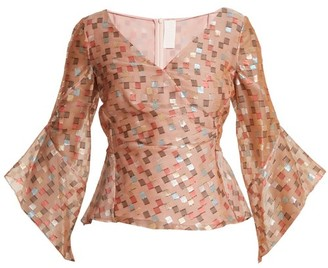 Peter Pilotto Fil Coupe Jacquard Silk Blend Organza Top - Womens - Nude Print