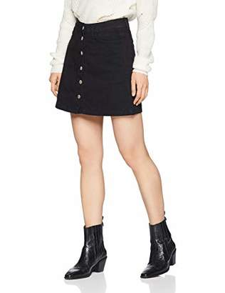 New Look Petite Women's Denim Button Mini Skirt,4 (Size:4)