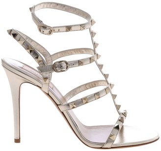 99e6cbcc3952 Valentino GARAVANI Heeled Sandals Rockstud Ankle Strap Sandal In Laminated  Leather With Metal Studs