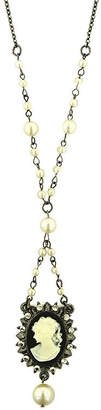 1928 Jewelry 1928 Black-Tone and Simulated Pearl Black Cameo Necklace