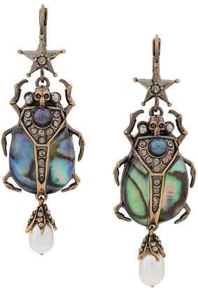 Alexander McQueen bug crystal embellished earrings