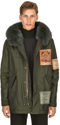 Mr & Mrs Italy Hooded Patched Nylon Parka W/ Fox Fur