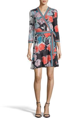Label By 5twelve Printed Tie-Front Asymmetric Wrap Dress