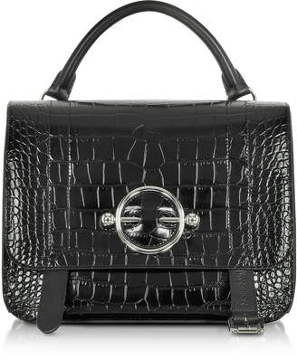 J.W.Anderson Black Croco Embossed Leather Disc Satchel Bag