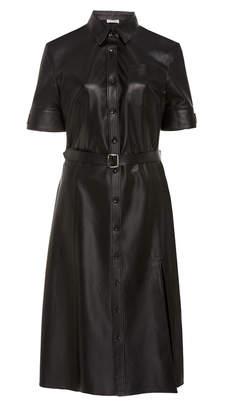 Altuzarra Kieran Leather Midi Shirt Dress