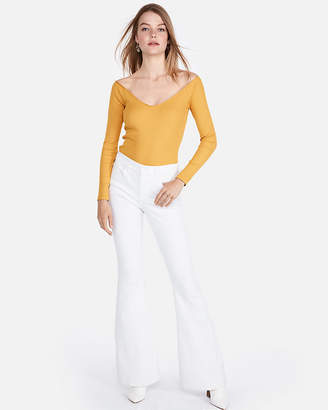 Express Petite One Eleven Modern Rib Off The Shoulder Tee