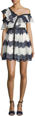 Self-Portrait Self Portrait Wave Lace Frill One-Shoulder Cocktail Mini Dress