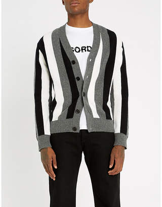 Sandro Striped wool-and-cashmere blend cardigan