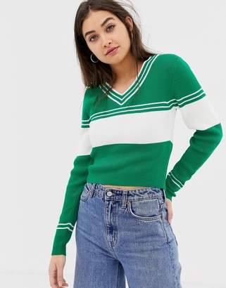 Asos Design DESIGN v-neck jumper with 70's tipping