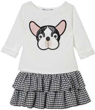 Pippa & Julie French Bulldog Sweatshirt & Tiered Tank Dress 2-Piece Set (Baby Girls 0-9M)