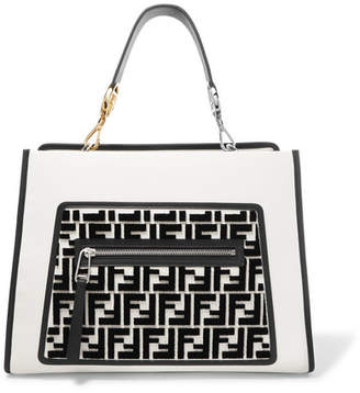 Fendi Runaway Flocked Leather Tote - White