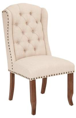 Ave Six AVE-SIX Jessica Tufted Wing Chair in Linen Fabric with Bronze Nailheads and Coffee Legs K/D
