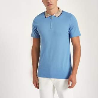 River Island Blue baroque collar muscle fit polo shirt