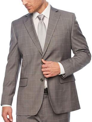STAFFORD Stafford Gray Windowpane Classic Fit Stretch Suit Jacket