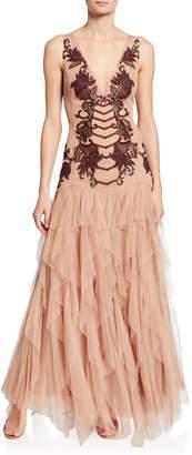 BCBGMAXAZRIA Metallic-Embroidered Drape Tulle Evening Dress