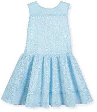 David Charles Sleeveless Mesh Tulip Dress, Blue, Size 4-10 $165 thestylecure.com