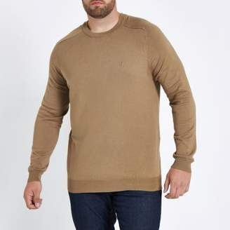 River Island Mens Big and Tall camel crew neck sweater