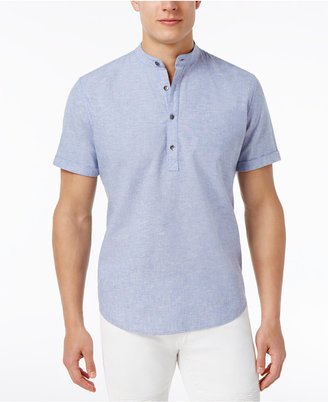 INC International Concepts Men's Linen-Blend Popover Shirt, Only at Macy's $49.50 thestylecure.com