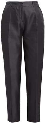 Wolf & Badger Satie Black Silk Tapered Suit Trousers