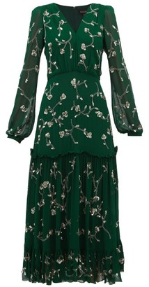 Saloni Devon Sequin Floral Embroidered Midi Dress - Womens - Dark Green