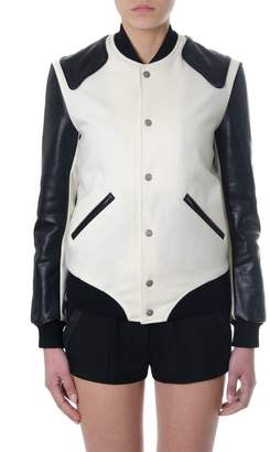 Saint Laurent Varisty Heaven Chalk & Black Wool & Leather Bomber Jacket