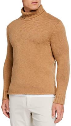 Ermenegildo Zegna Men's Chunky Camel Turtleneck Sweater