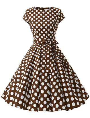 Dressystar Vintage 1950s Polka Dot and Solid Color Prom Dresses Cap-sleeve XL