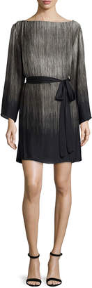 Halston 3/4-Sleeve Belted Ombre Caftan, Silver Gray
