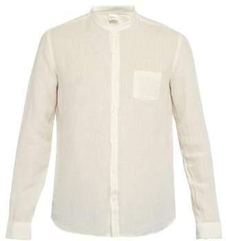 Once Milano - Fray Trim Mandarin Collar Linen Shirt - Mens - Cream