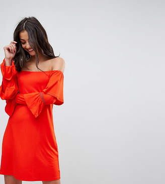 Asos Tall TALL Off Shoulder Mini Sundress with Flamenco Sleeves