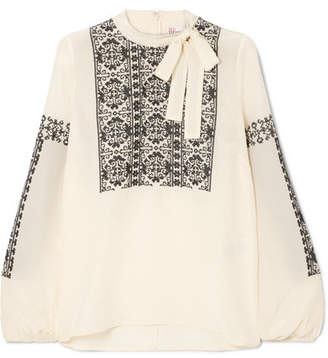 RED Valentino Pussy-bow Embroidered Silk Blouse - Cream