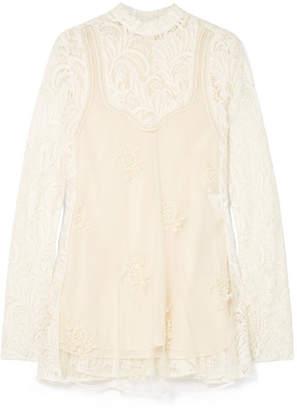 Stella McCartney Embellished Paneled Wool-blend Lace And Tulle Blouse - Ivory