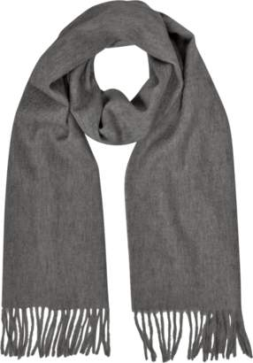 Mila Schon Cashmere and Wool Dark Gray Fringed Long Scarf