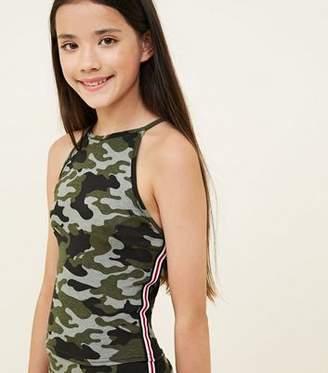New Look Girls Green Camo Stripe Side Cami
