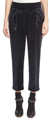 Brunello Cucinelli Velvet Single-Pleat Cropped Trousers, Gray $995 thestylecure.com