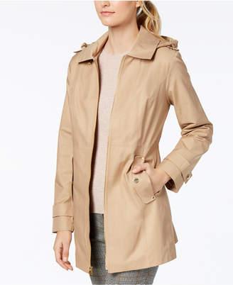 Michael Kors MICHAEL Petite Hooded Zip-Front Raincoat