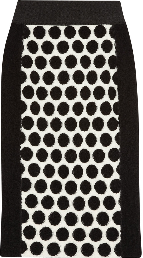Marc Jacobs Polka-dot wool-fleece pencil skirt